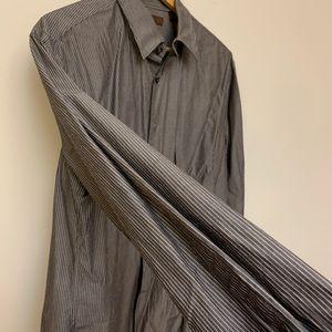 Perry Ellis dress shirt striped city fit size L